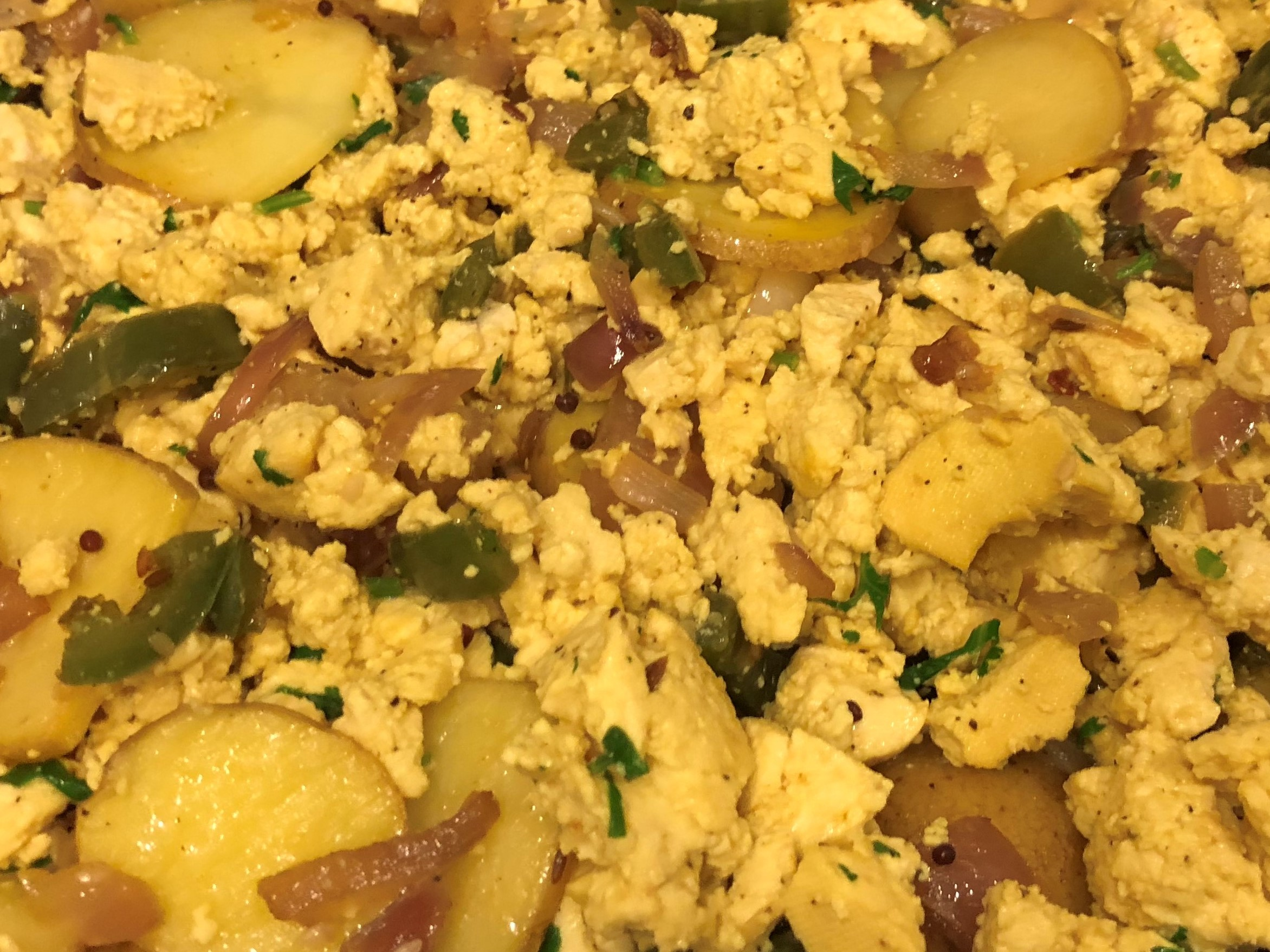 Spicy Baked Tofu Scramble with Potatoes