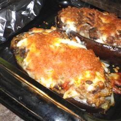 Eggplant Stuffed with Lamb and Feta