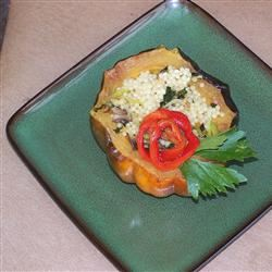 Vegan Acorn Squash Stuffed with Israeli Couscous