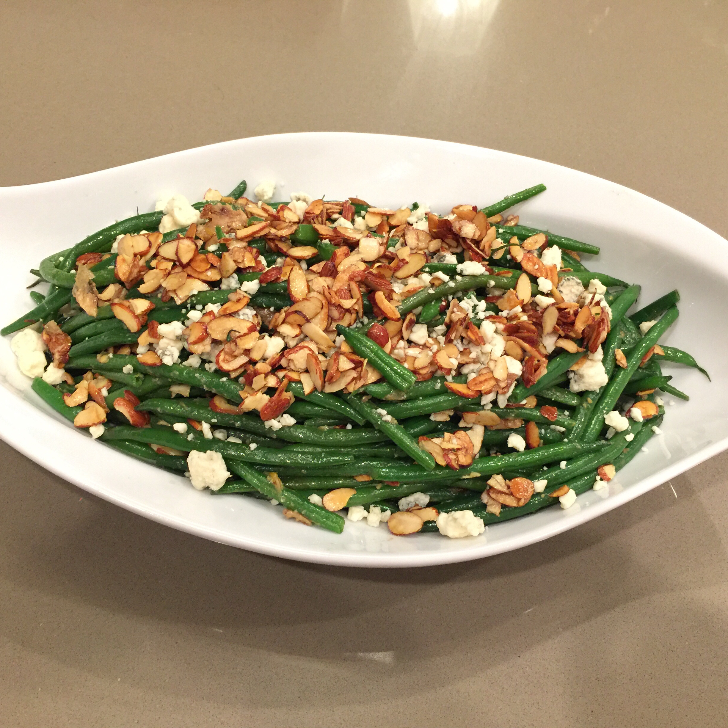 "Green Bean ""Almondine"" with Garlic and Blue Cheese djpiglet"