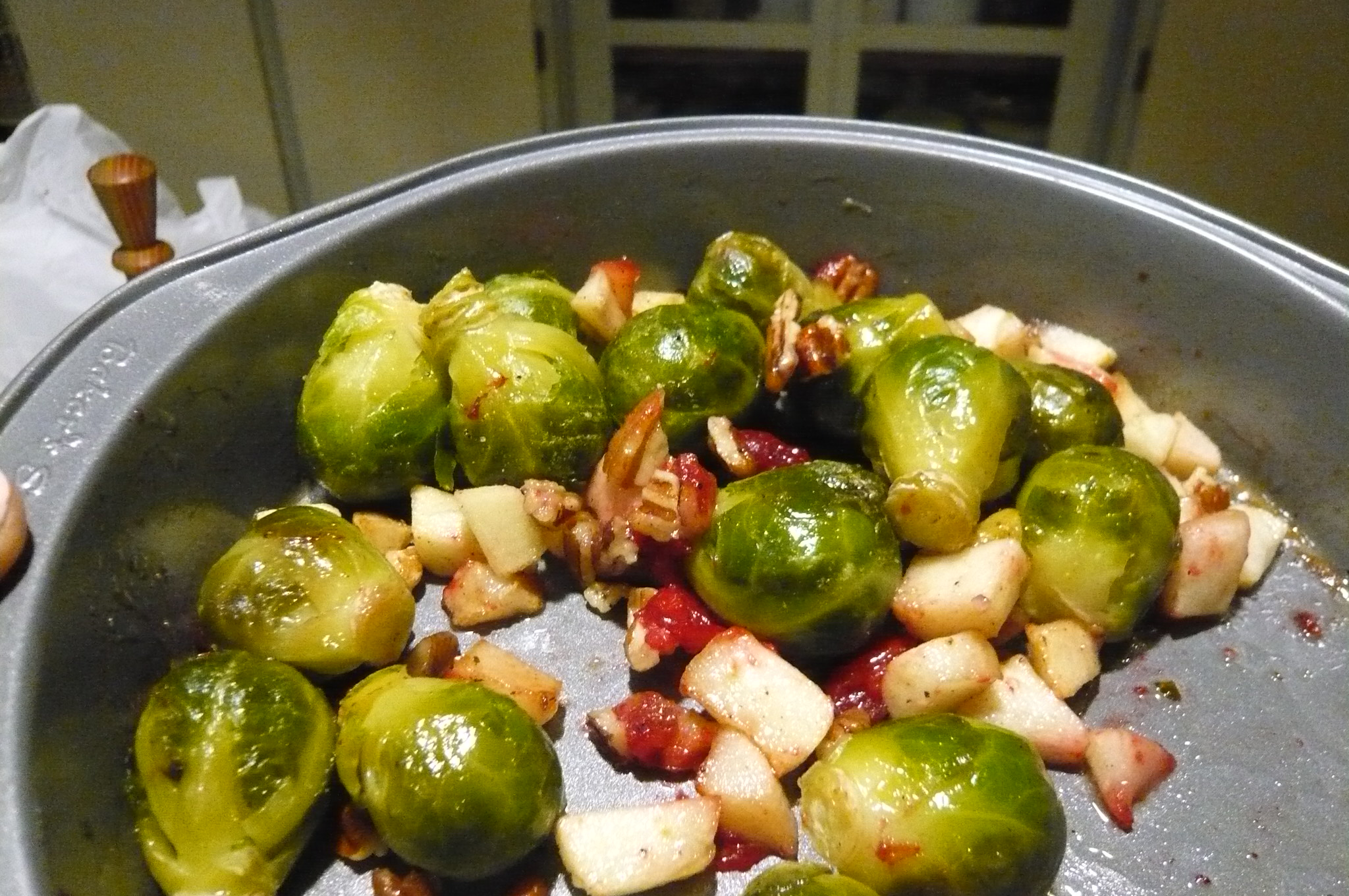 Maple-Roasted Brussels Sprouts with Apples and Cranberries Jan Mowbray