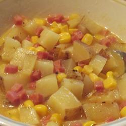Corny Ham and Potato Scallop tiff