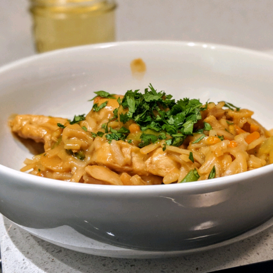 NO YOLKS® Asian Vegetables and Chicken in a Spicy Peanut Sauce Cameron Rodriguez