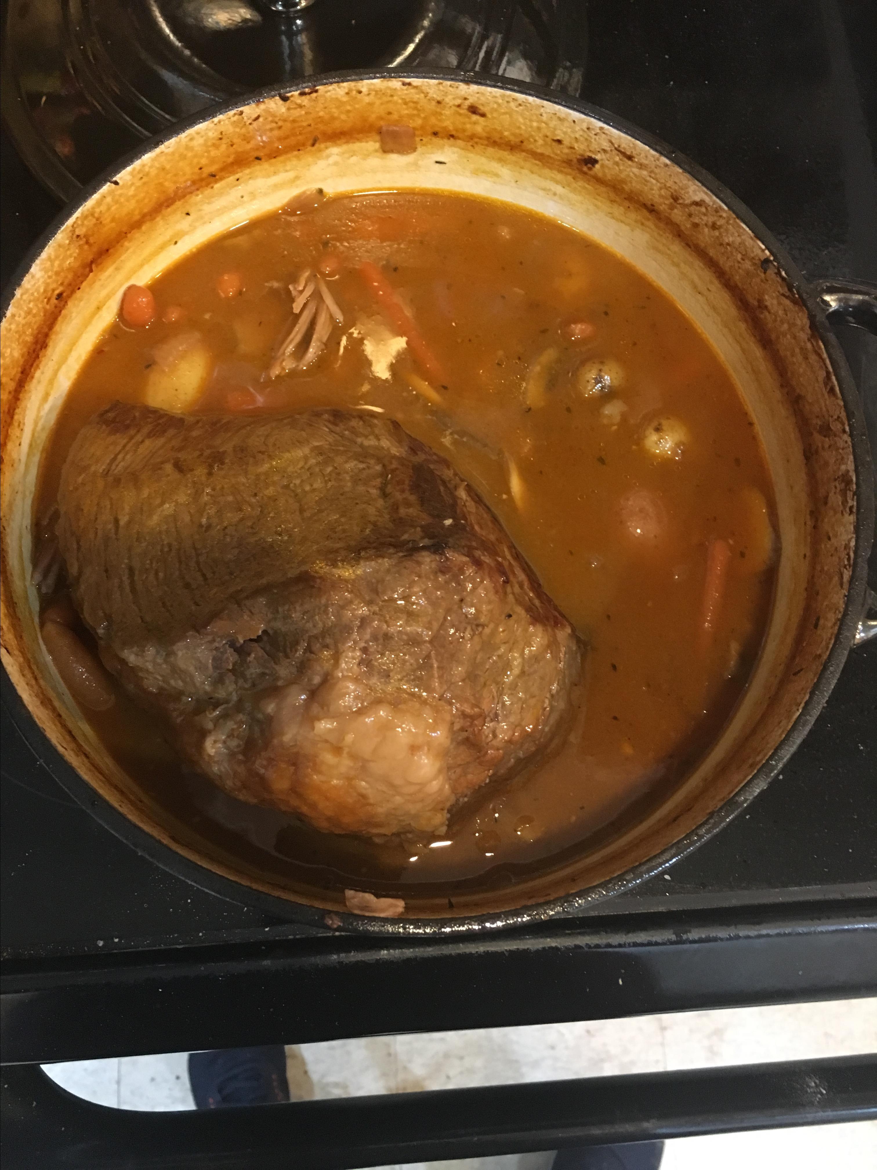 Pot Roast, Vegetables, and Beer