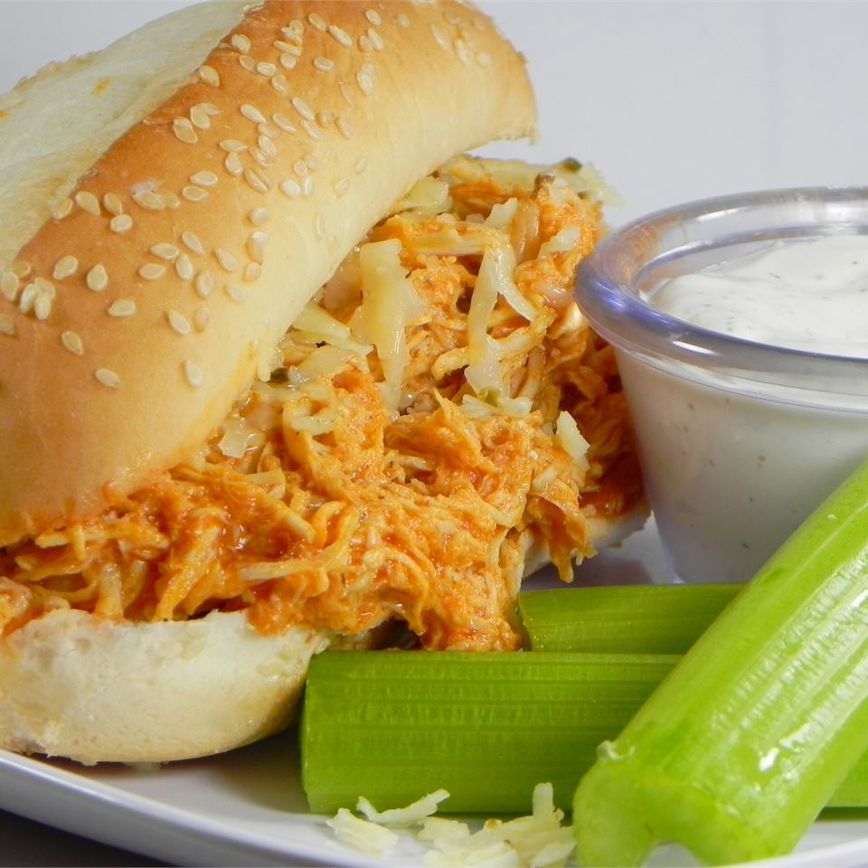 Slow Cooker Buffalo Chicken Sandwiches Divinesolace21
