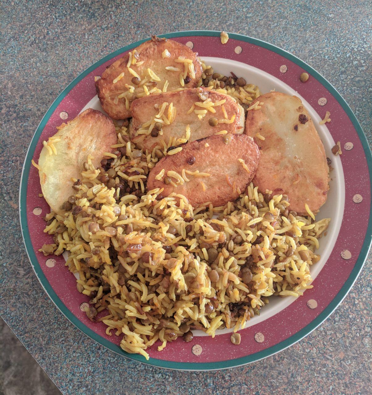 Persian Rice with Potato Tahdig