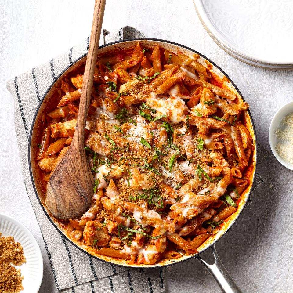 One-Pan Chicken Parmesan Pasta Trusted Brands