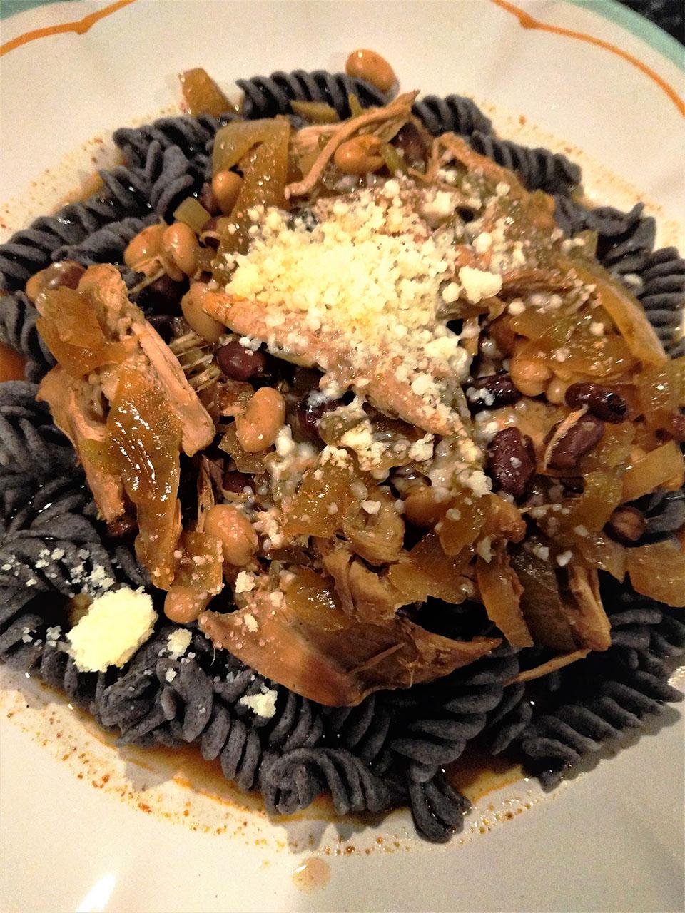 Slow Cooker Chicken Thighs over High-Fiber Black Bean Pasta