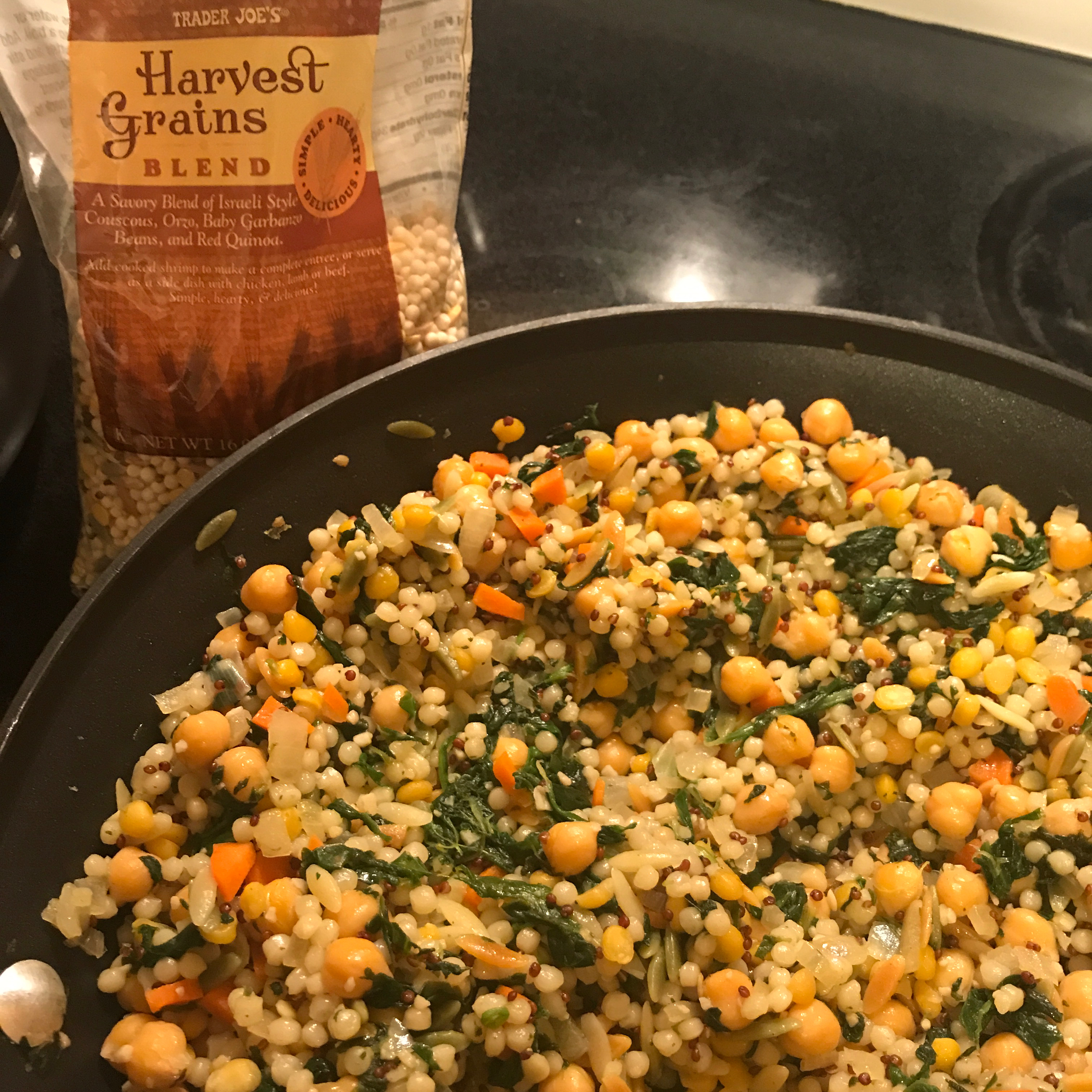 Pearl Couscous with Lentils, Carrots, Spinach, and Corn Ham