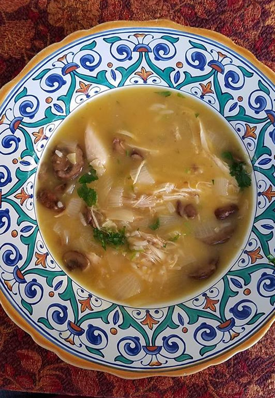 Lemony Mushroom-Chicken Soup with Rice
