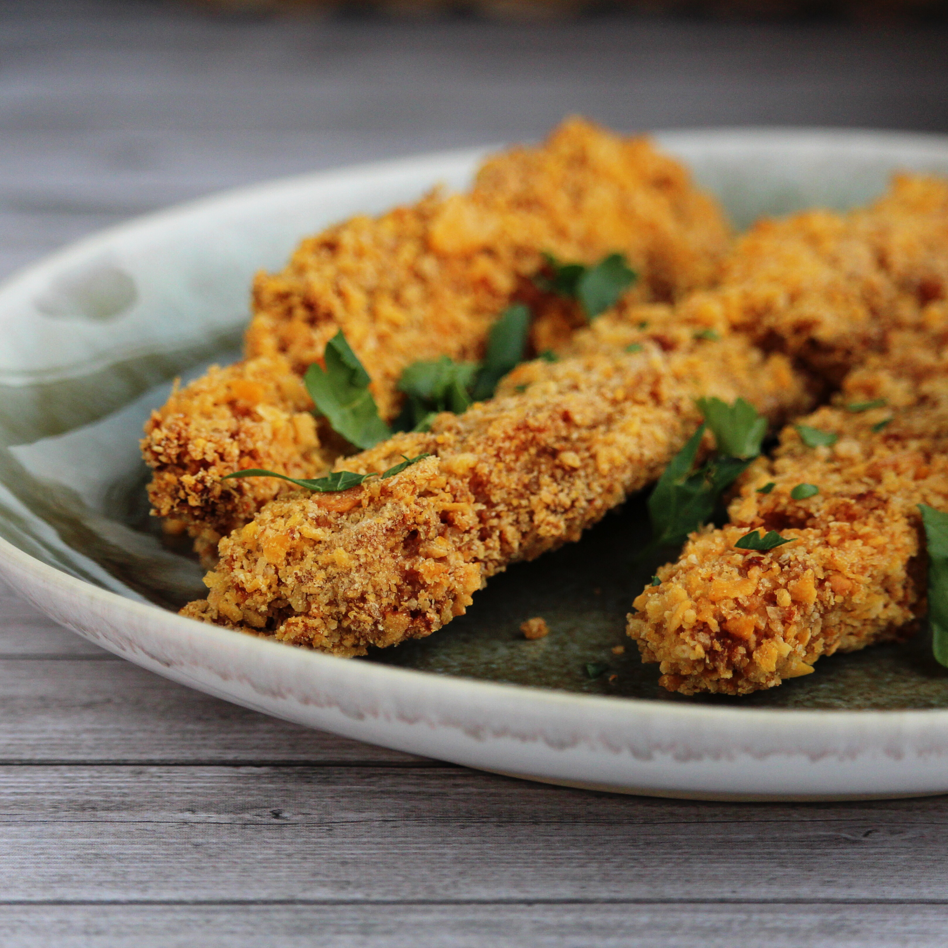 Baked Chicken Thighs Coated With Corn Flake Crumbs