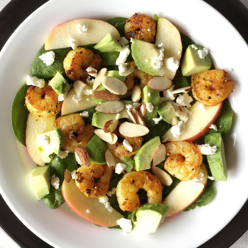 Turmeric Pepper Shrimp Spinach Salad