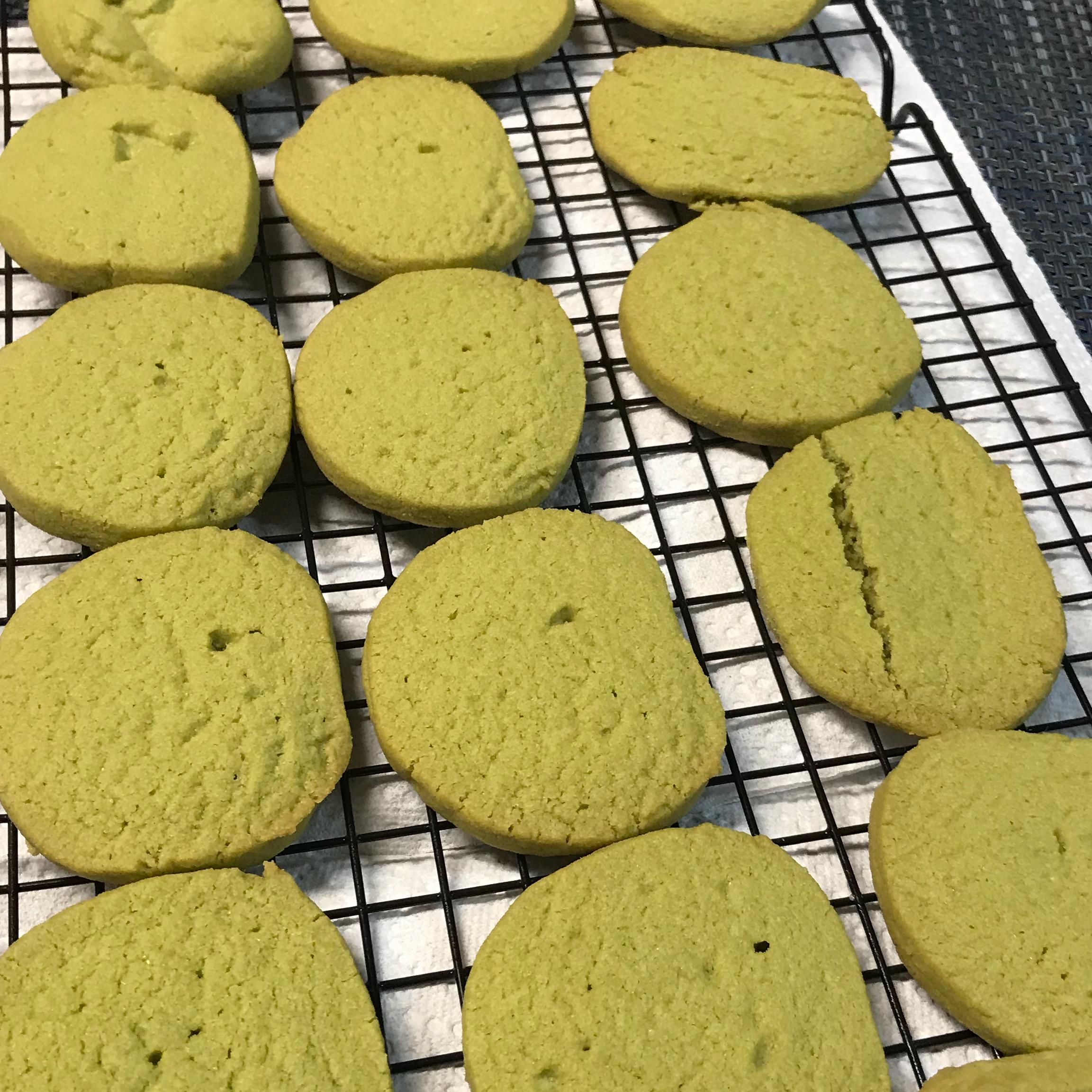 Green Tea Shortbread Cookies catseye