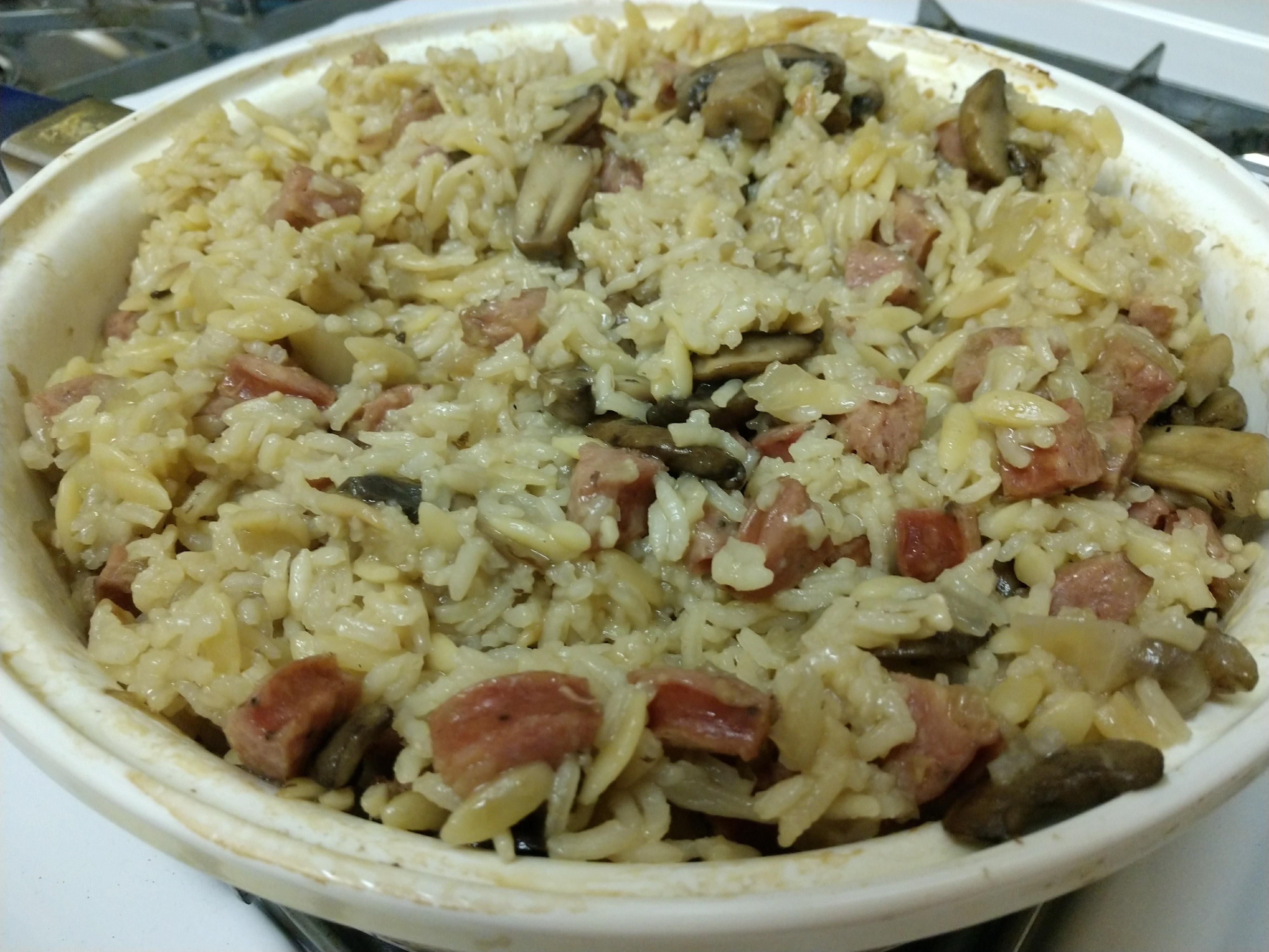 Mushroom and Sausage Rice Pilaf