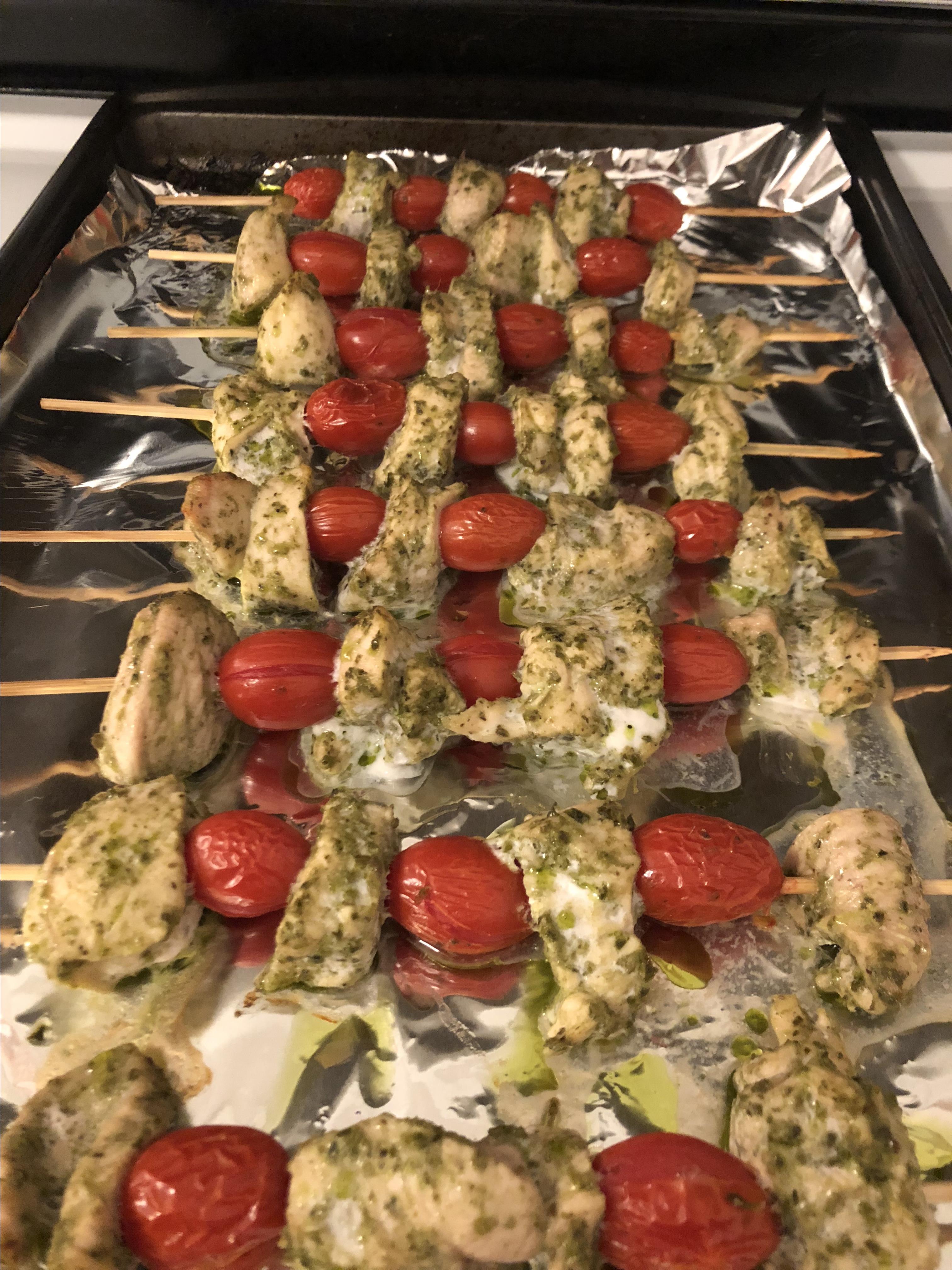 Pesto Chicken Kabobs kels