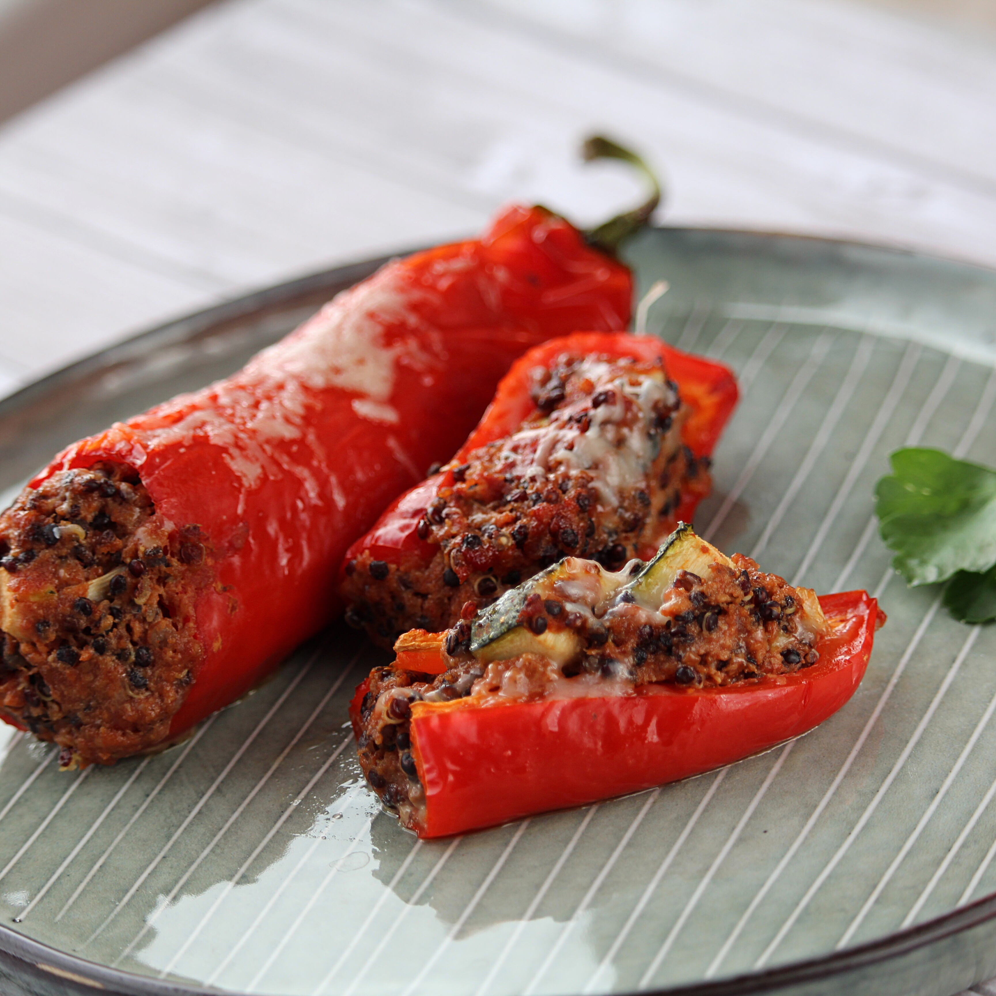 Stuffed Red Peppers with Quinoa, Mushrooms, and Turkey