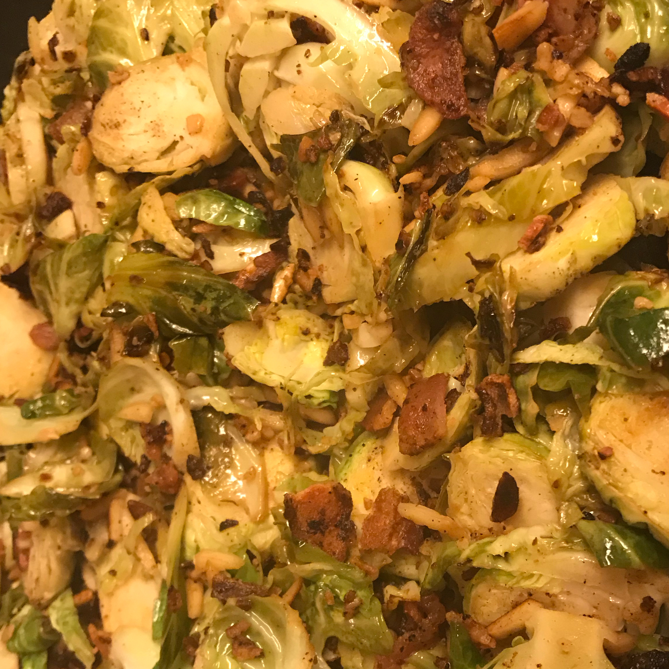 Shaved Brussels Sprouts with Bacon and Almonds Heather Brouns