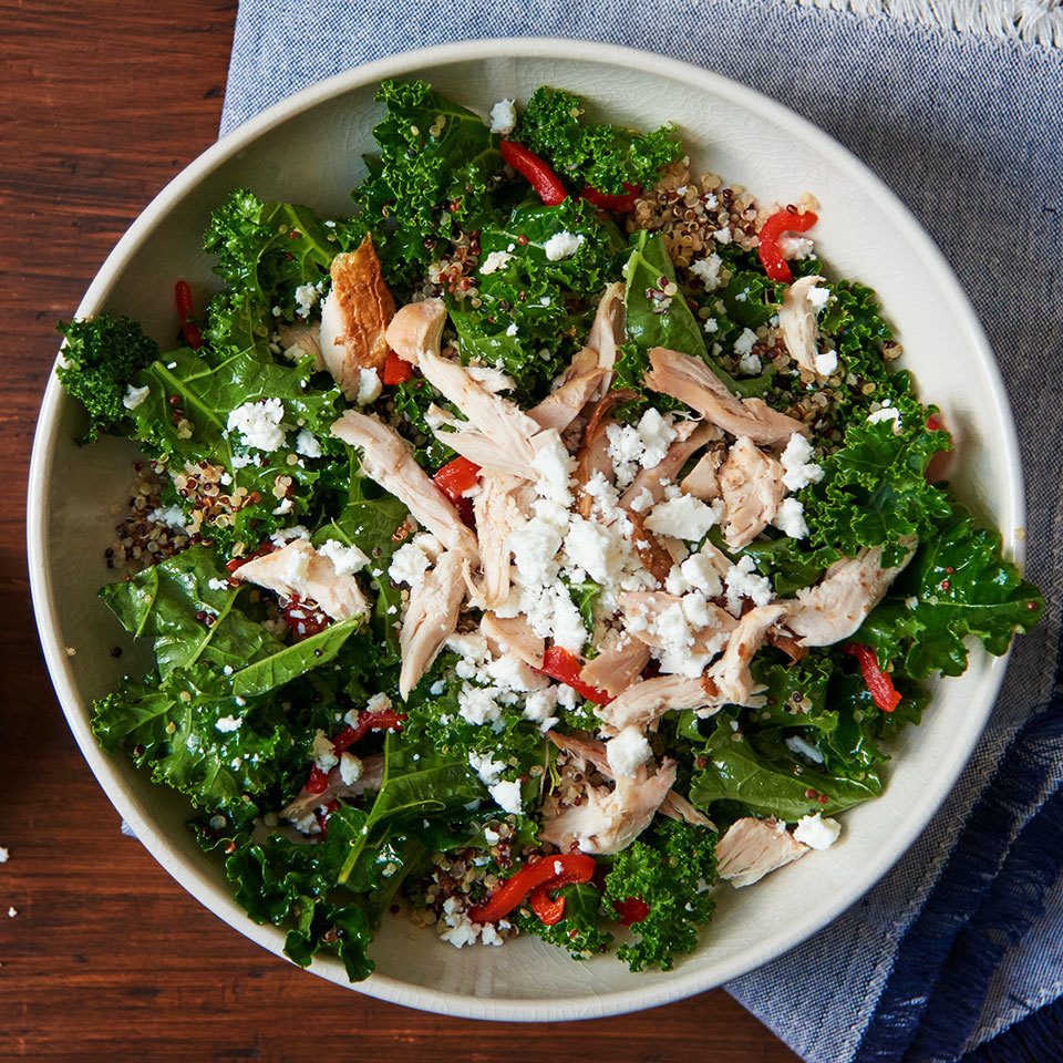 Toss the cooked chicken into this healthy 5-ingredient salad recipe while it's still warm to lightly wilt the kale, making it softer and easier to eat. Using store-bought salad dressing saves time, but you could also make your own Mediterranean vinaigrette. Source: EatingWell.com, January 2018