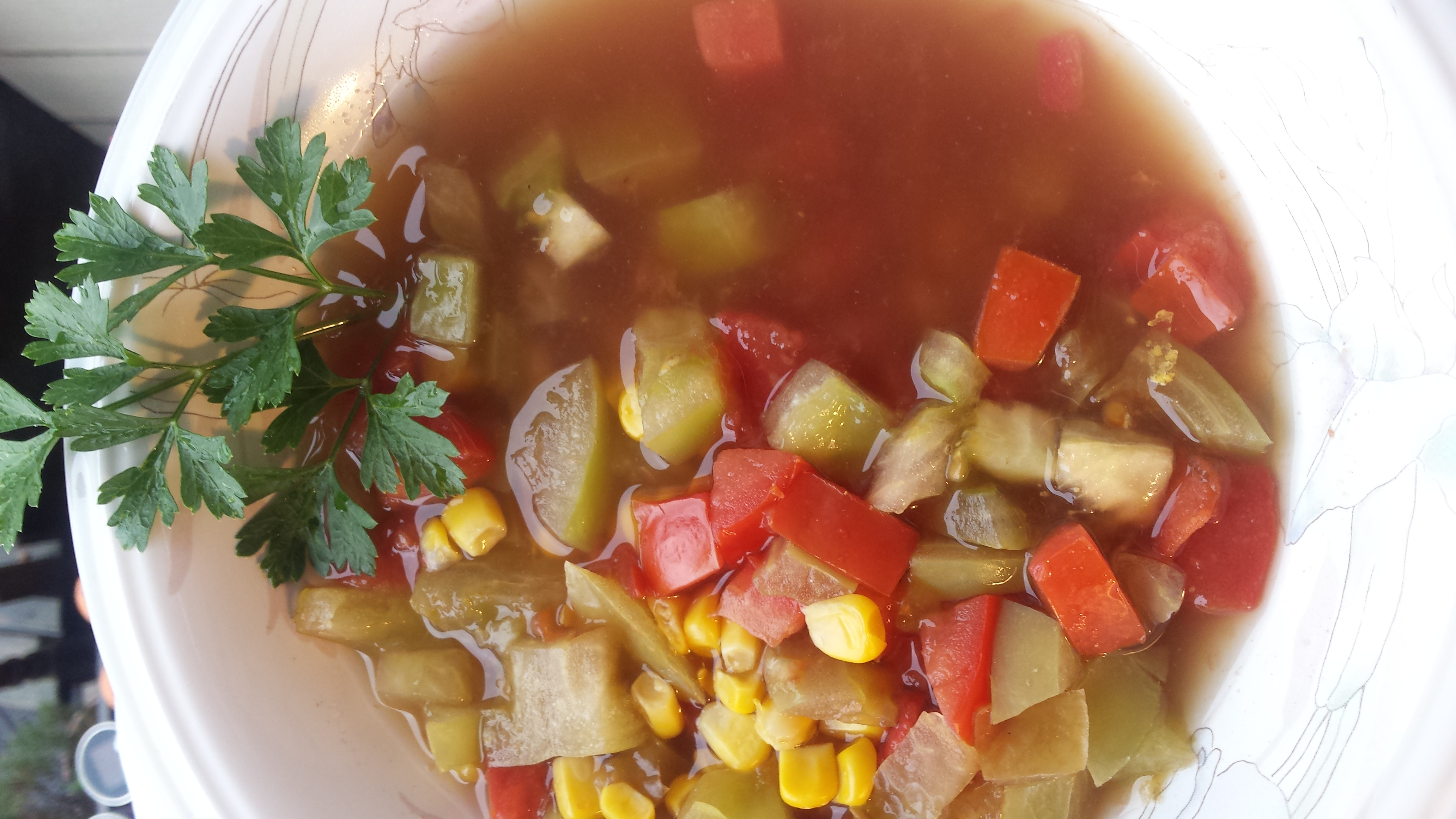 Green and Red Tomato and Corn Soup Lalena