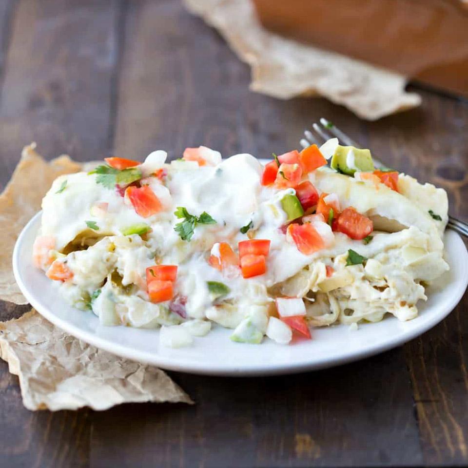 Creamy Salsa Verde Chicken Enchiladas Shamrock Farms