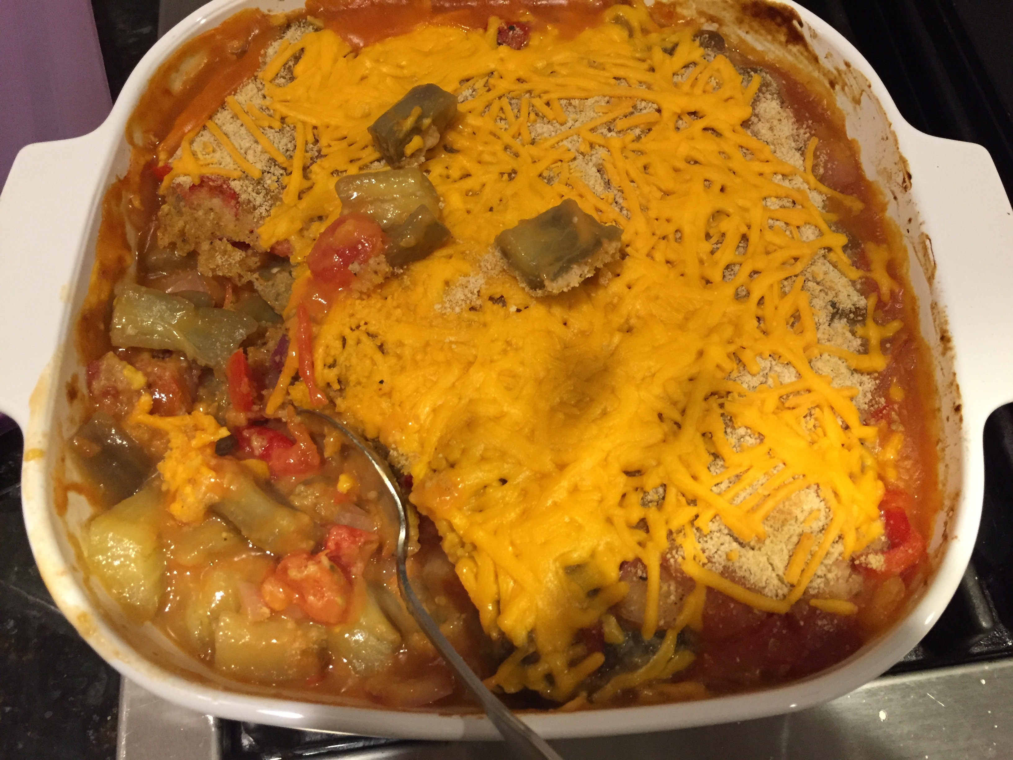 Cheesy Vegetable Casserole with Eggplant