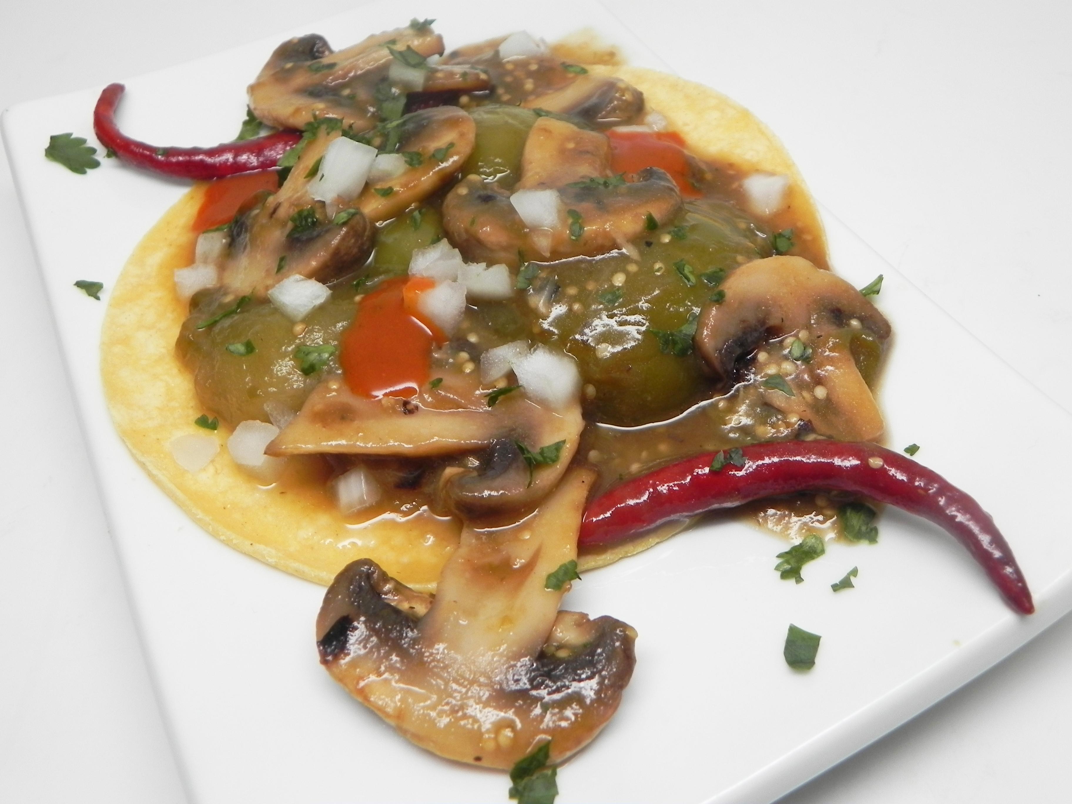 Vegan Tacos with Mushrooms and Tomatillos
