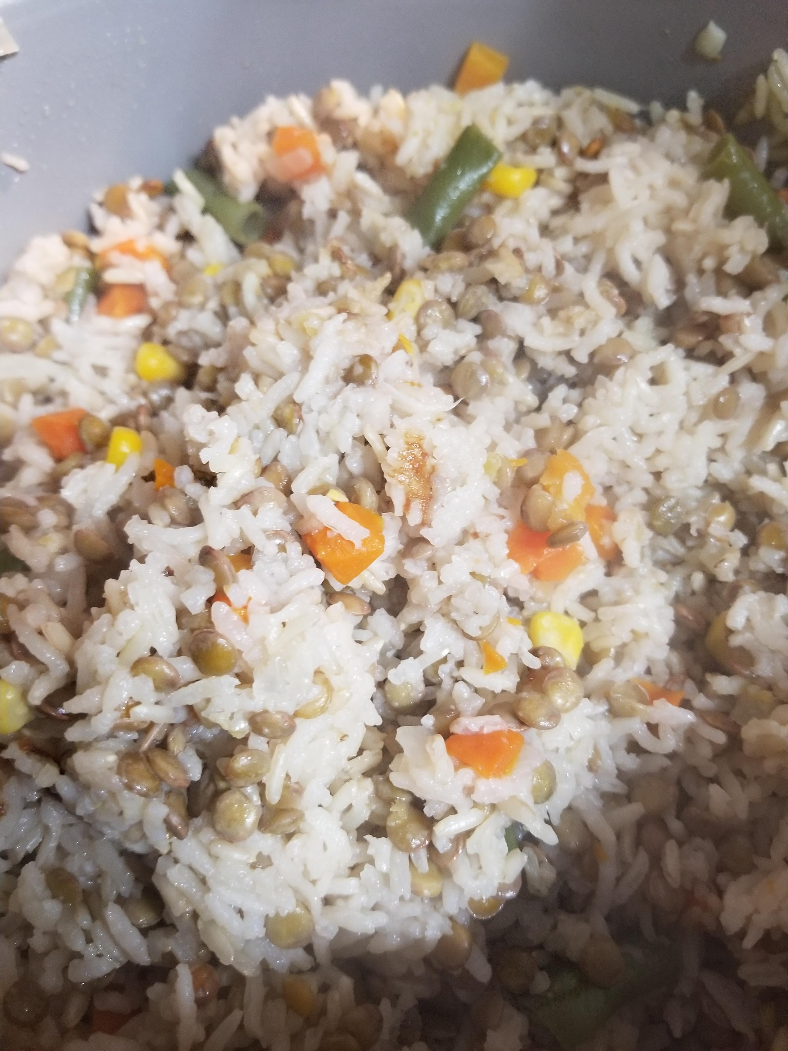 Rice and Lentils from a Rice Cooker