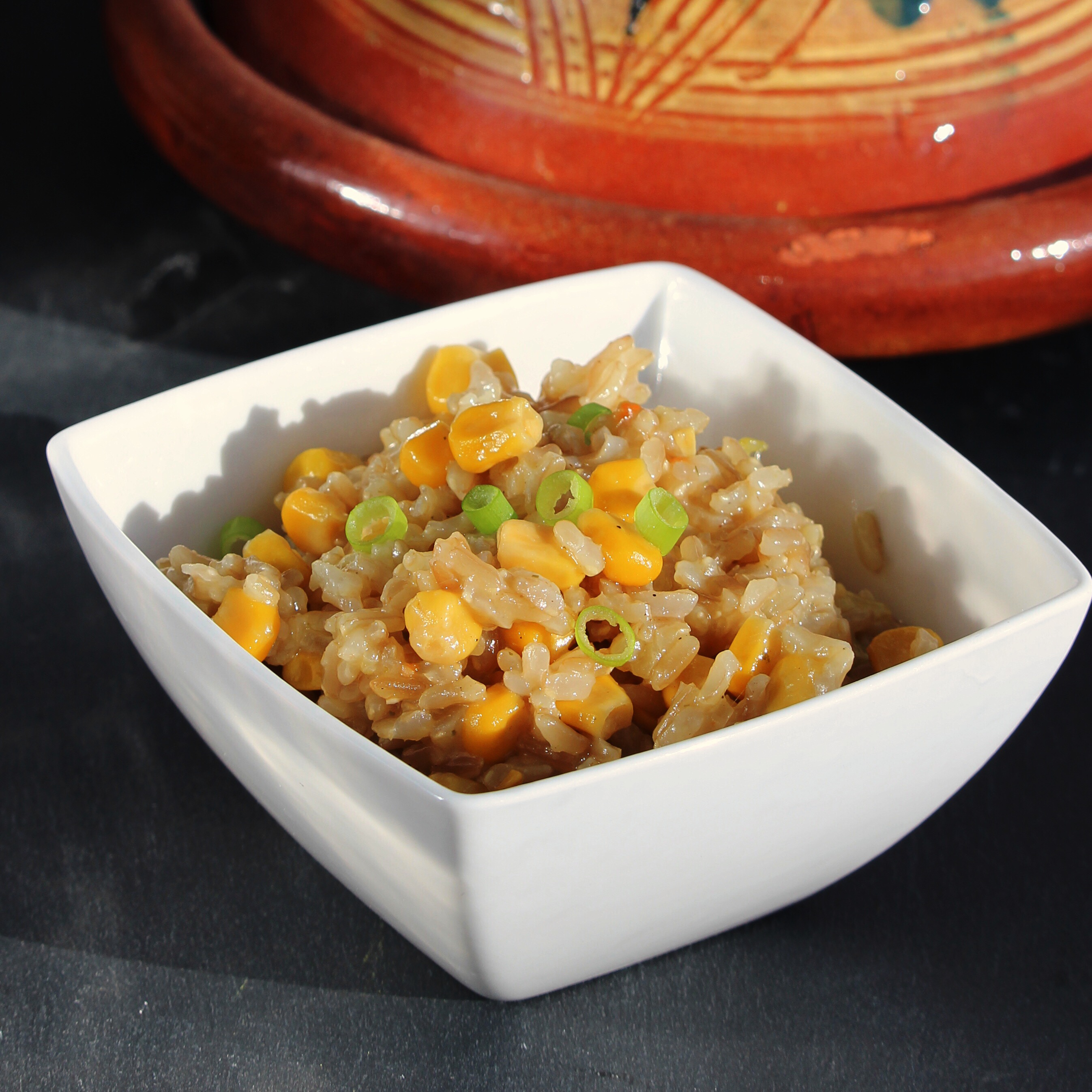 Brown Rice Pilaf with Onions and Corn