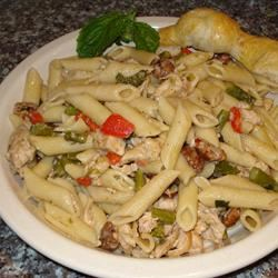 Asparagus, Chicken, and Pecan Pasta