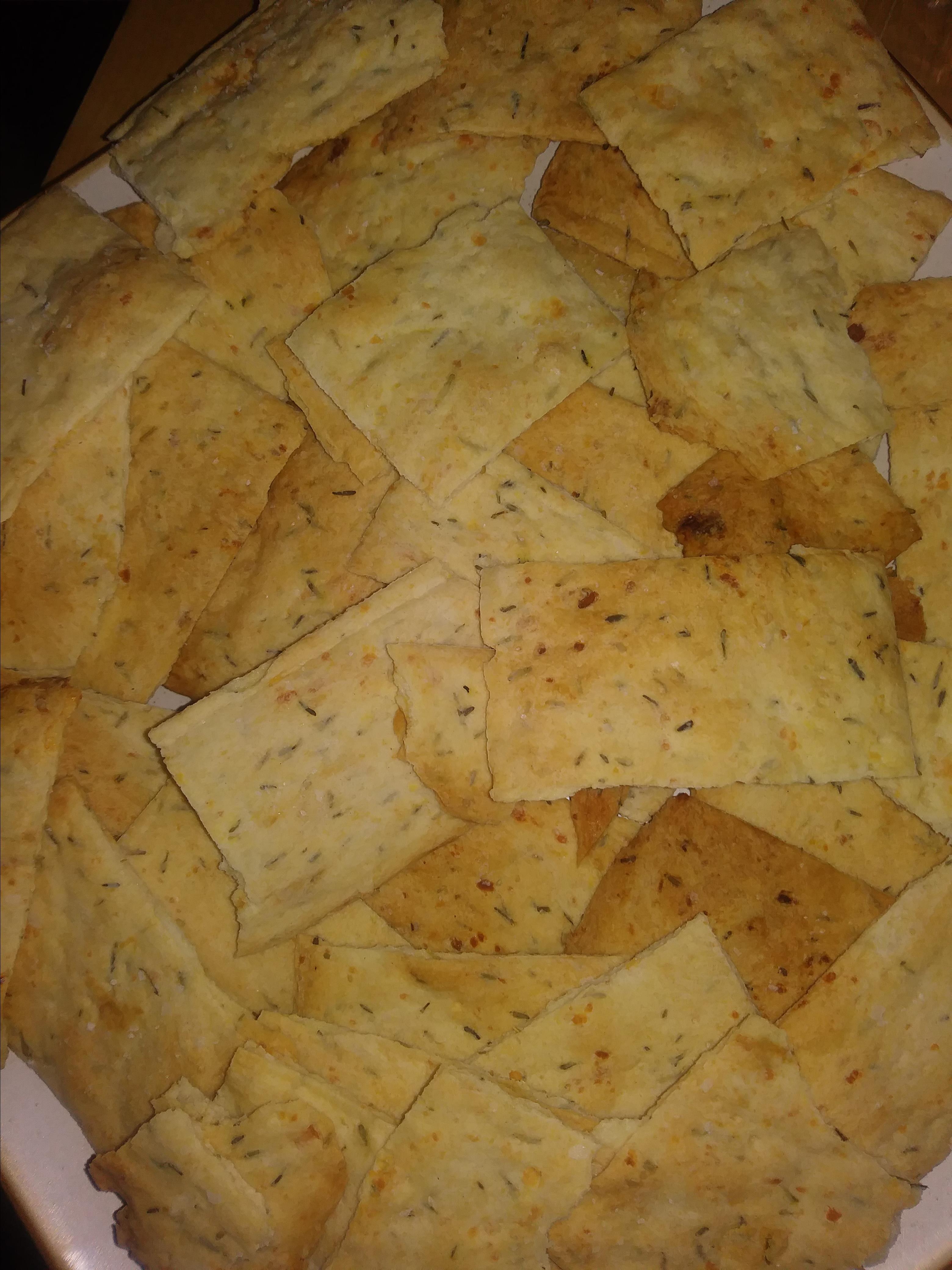Crispy Rosemary Sea Salt Flatbread Crackers