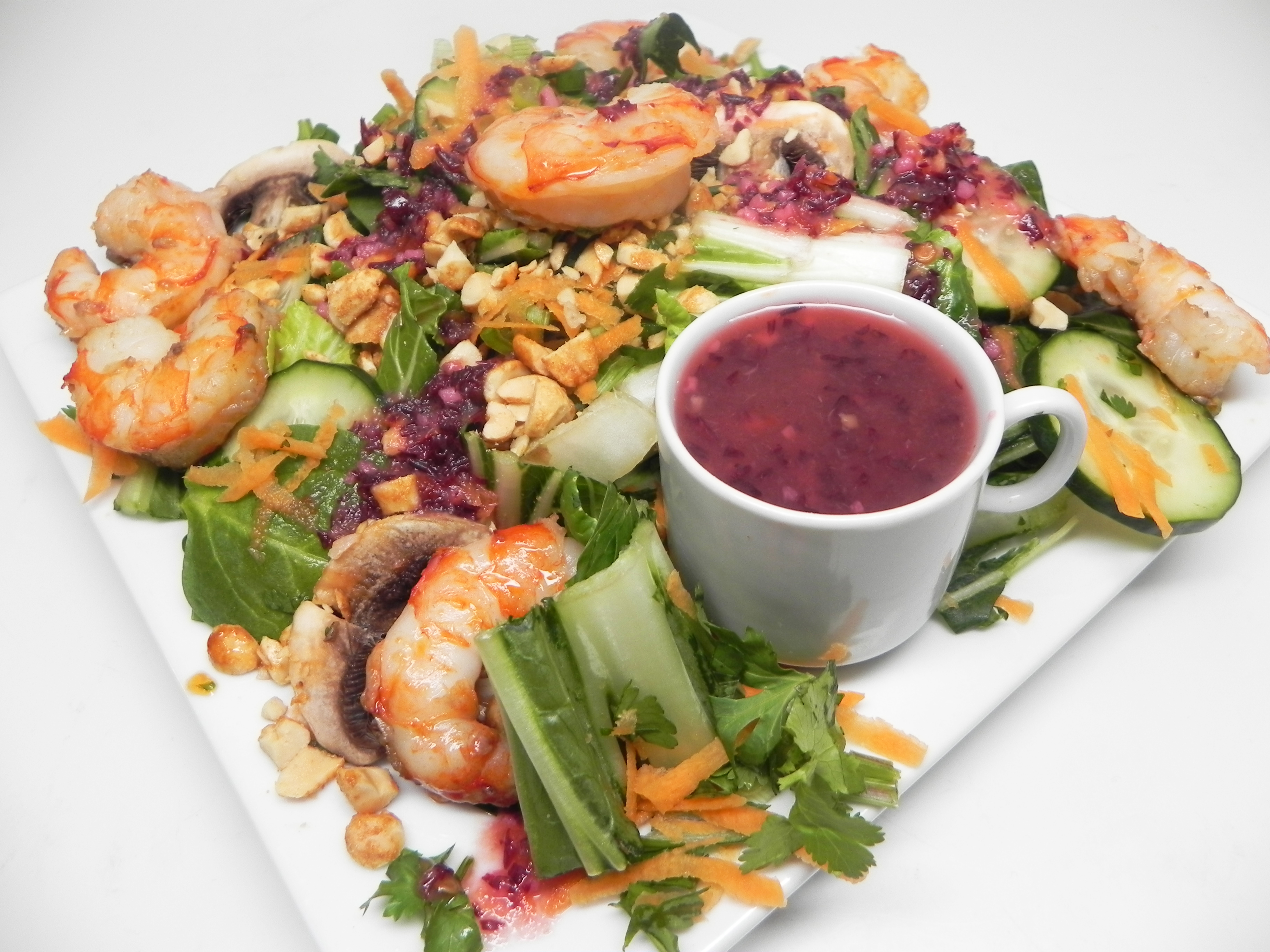 Grilled Shrimp, Pea Shoot, and Bok Choy Salad with Asian Reduced Fat Dressing