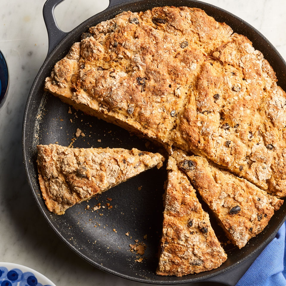 In this healthy whole-wheat Irish soda bread recipe, the addition of fruit and caraway seeds is often referred to as ''spotted dog,'' but you can omit them if you prefer a more traditional Irish soda bread. Baked in a skillet, this crowd-pleasing bread is delicious eaten warm with a pat of butter. Source: EatingWell Magazine, March/April 2018