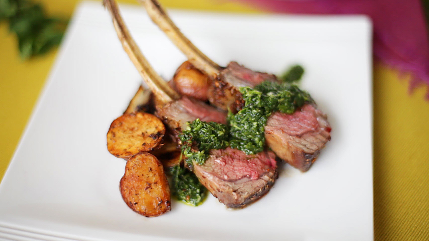 Spice-Crusted Roast Rack of Lamb with Cilantro-Mint Sauce
