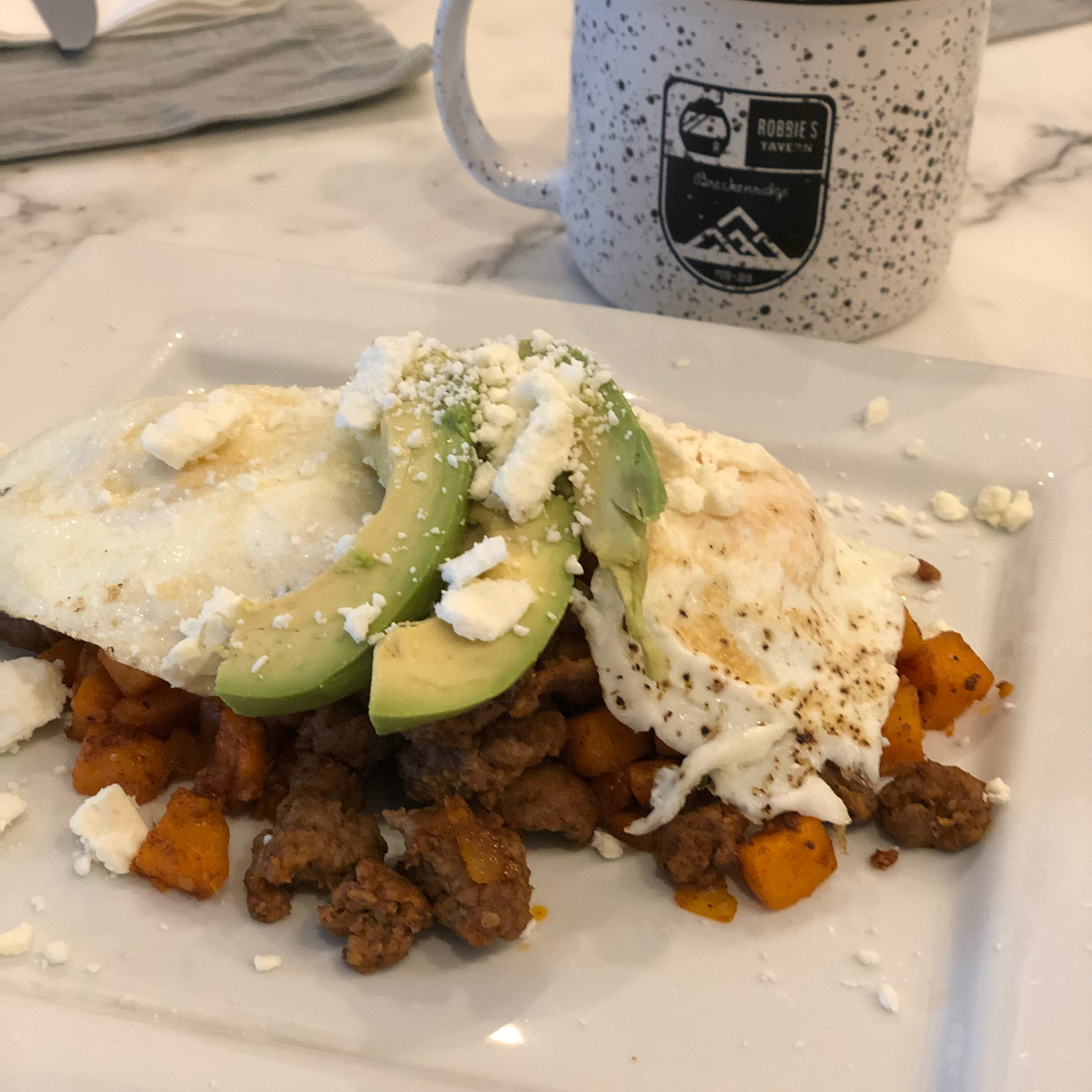 Greek Cowboy Hash and Eggs