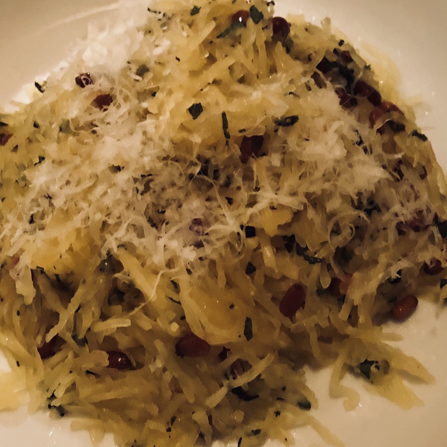 Spaghetti Squash with Pine Nuts, Sage, and Romano skikirkwood