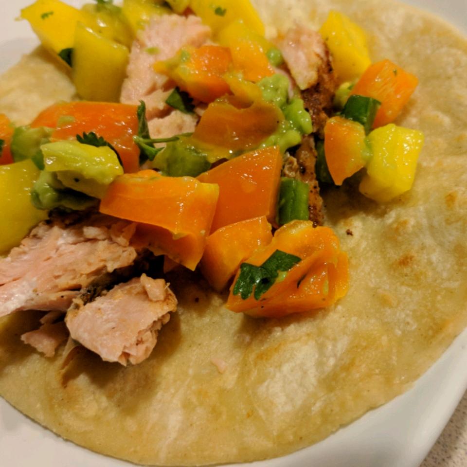 Blackened Salmon Tacos with Chunky Mango Avocado Salsa Mary Zink