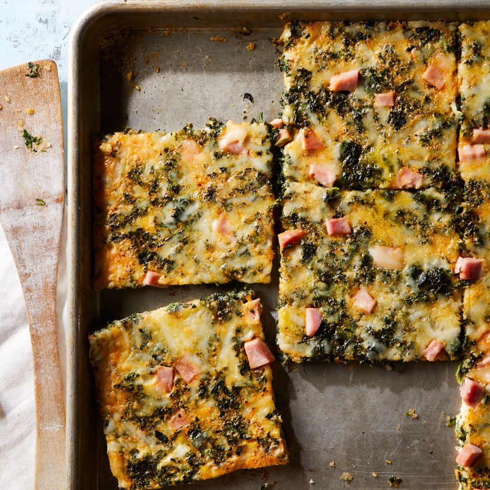 Sheet-Pan Eggs with Spinach & Ham Carolyn Casner