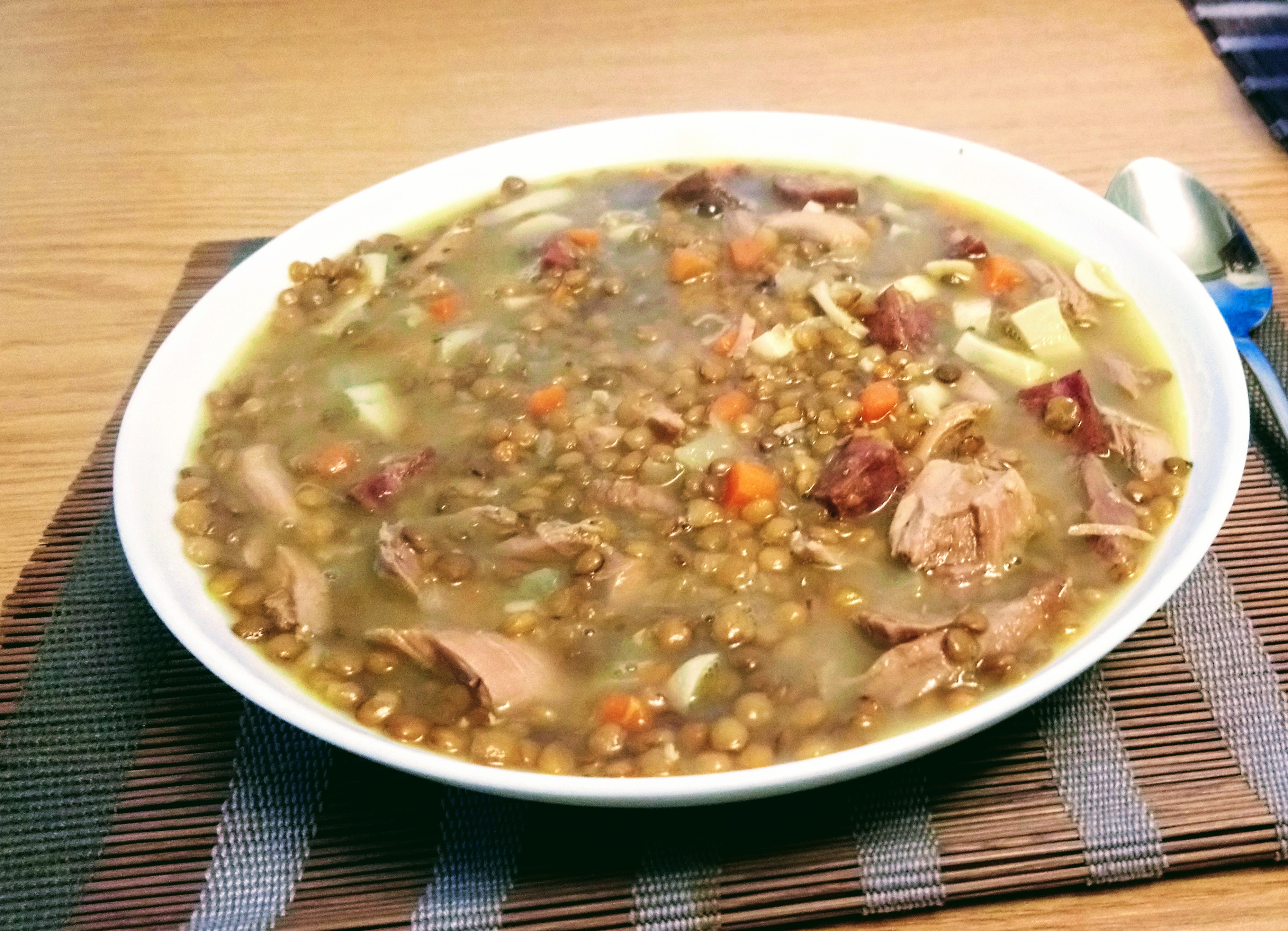 Andouille, Mushroom, and Lentil Soup
