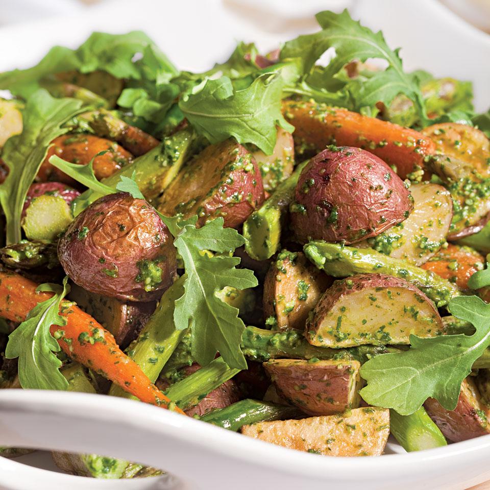 Roasted Spring Vegetables with Arugula Pesto Katie Webster