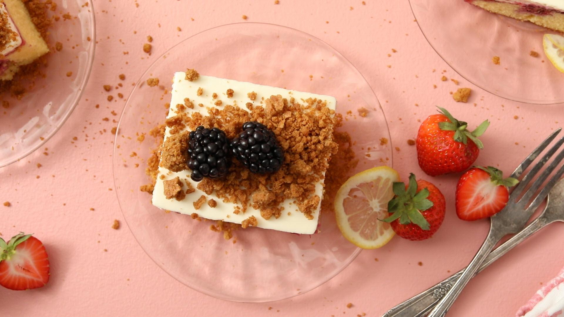 Triple Berry Cheesecake Poke Cake AllrecipesPhoto