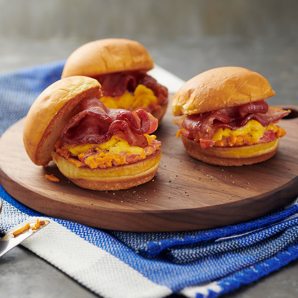 Bacon, Egg, and Pimento Cheese Breakfast Sliders