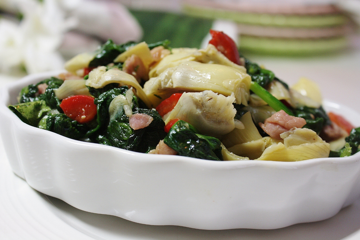 Colorful Spinach and Prosciutto Side image