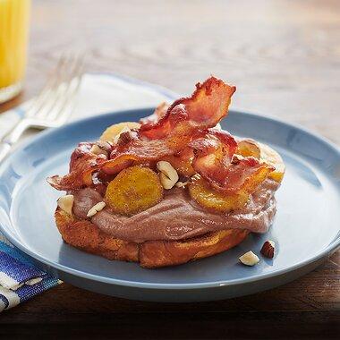 hazelnut spread toast with bacon and bananas