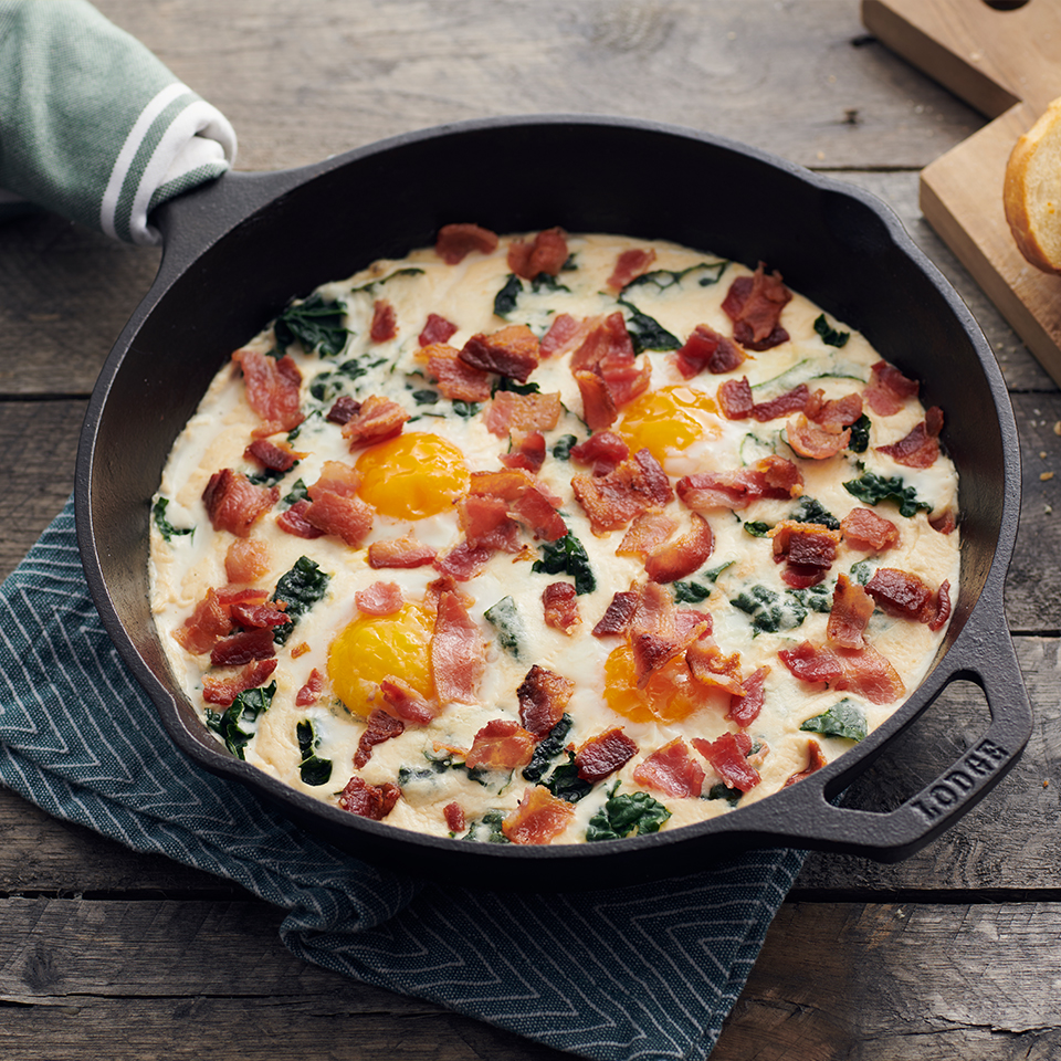 Skillet Baked Eggs with Bacon Alfredo Sauce