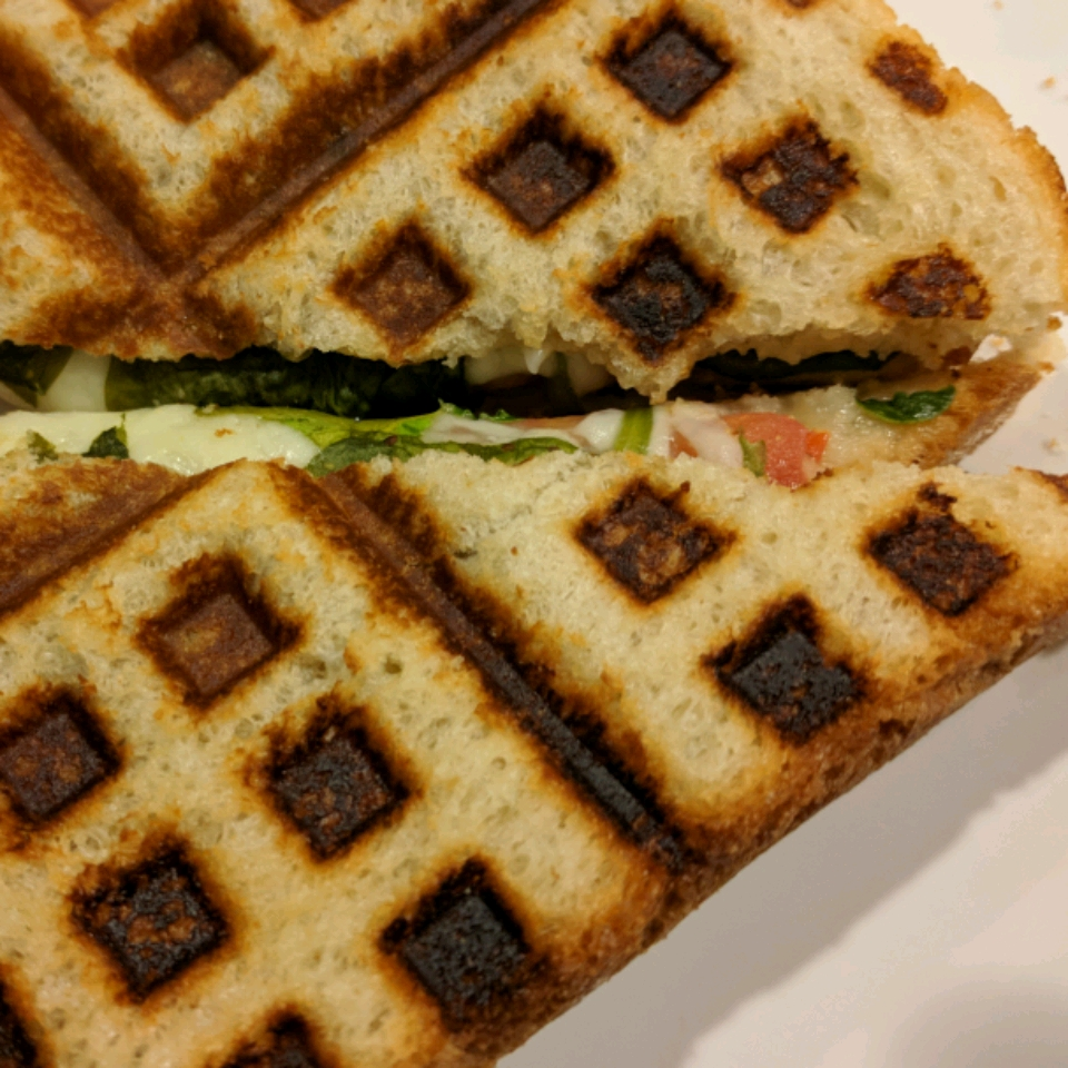 Waffle Sandwich with Cheese, Spinach and Spicy Mustard Mary Zink