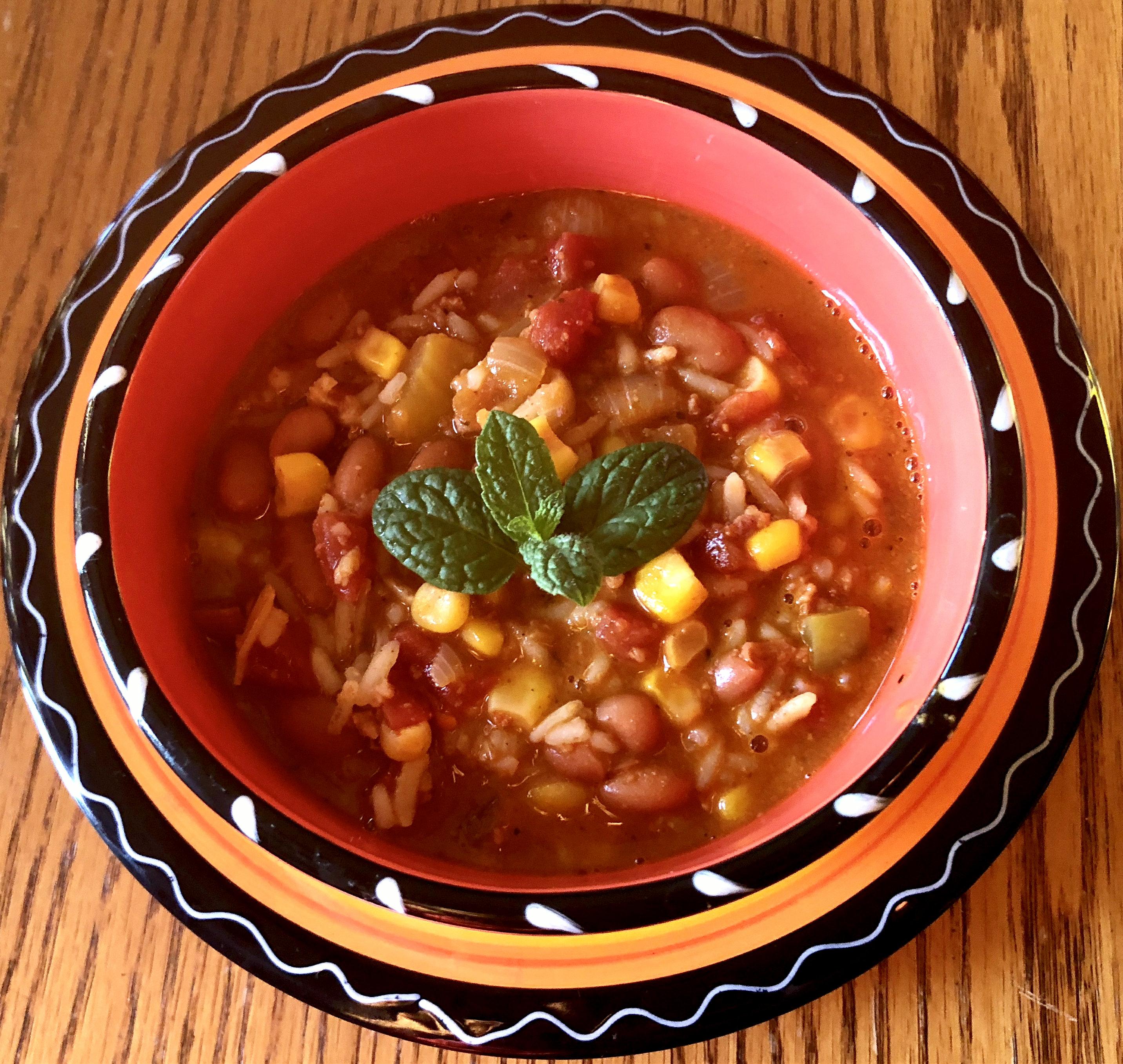 Savory Chorizo Sausage, Rice & Bean Soup Yoly