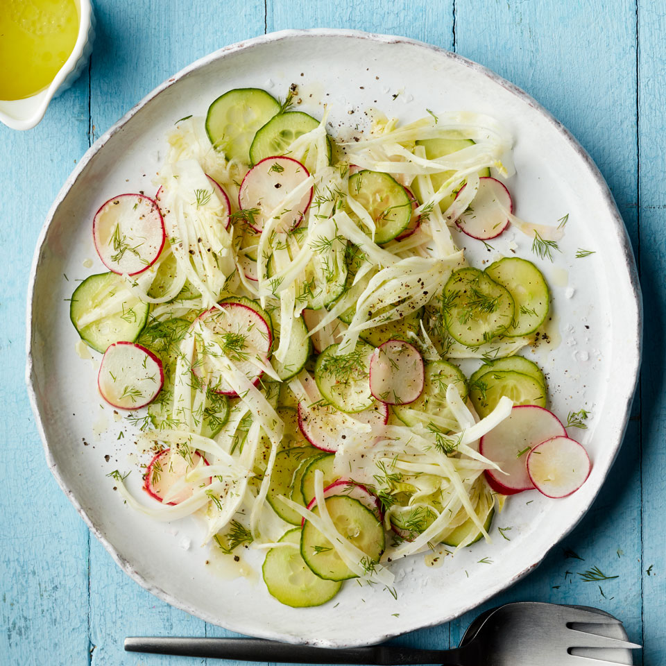 This supremely crunchy, quick side salad is best when spring vegetables are sliced as thinly as possible--a great excuse to pull out the mandoline or the slicing disk of your food processor, if you have one. Source: EatingWell Magazine, March/April 2018