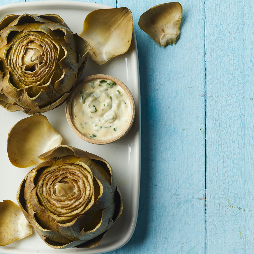 Steamed Artichokes with Herb Aioli Julia Clancy