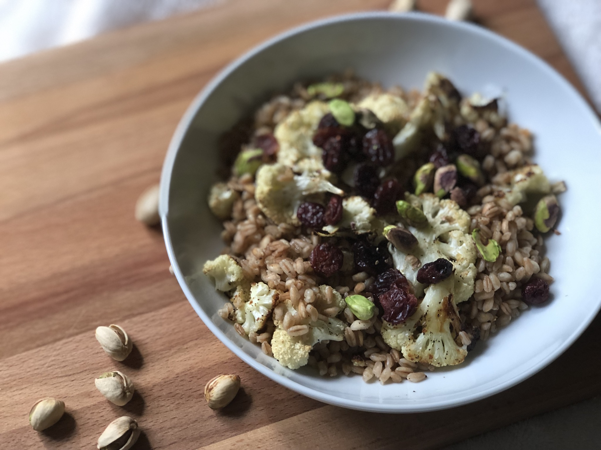 Instant Pot® Warm Vegetarian Farro Salad with Cauliflower, Pistachios, and Cranberries