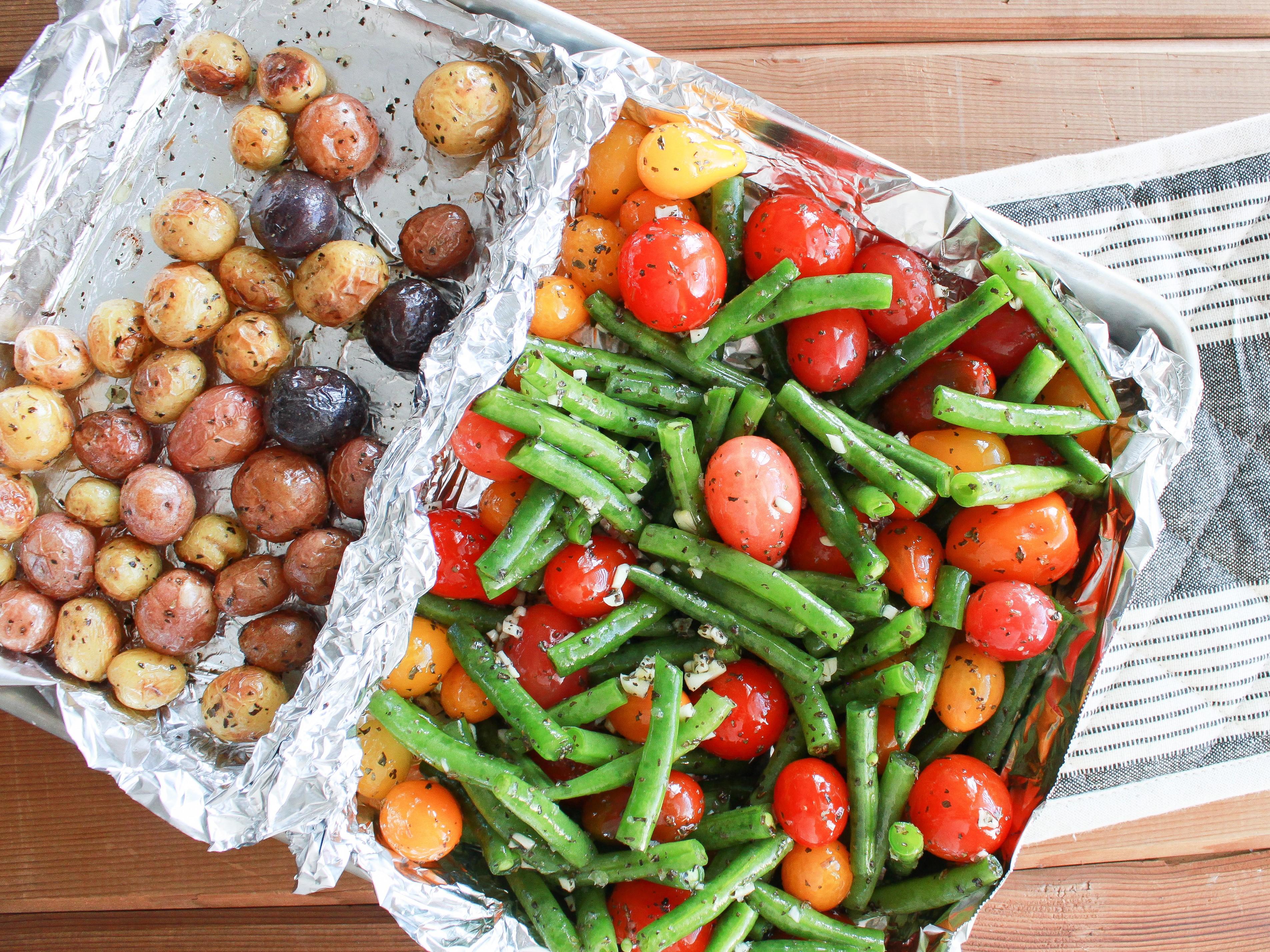 Vegan Green Bean, Tomato, and Basil Sheet Pan Dinner AllrecipesPhoto